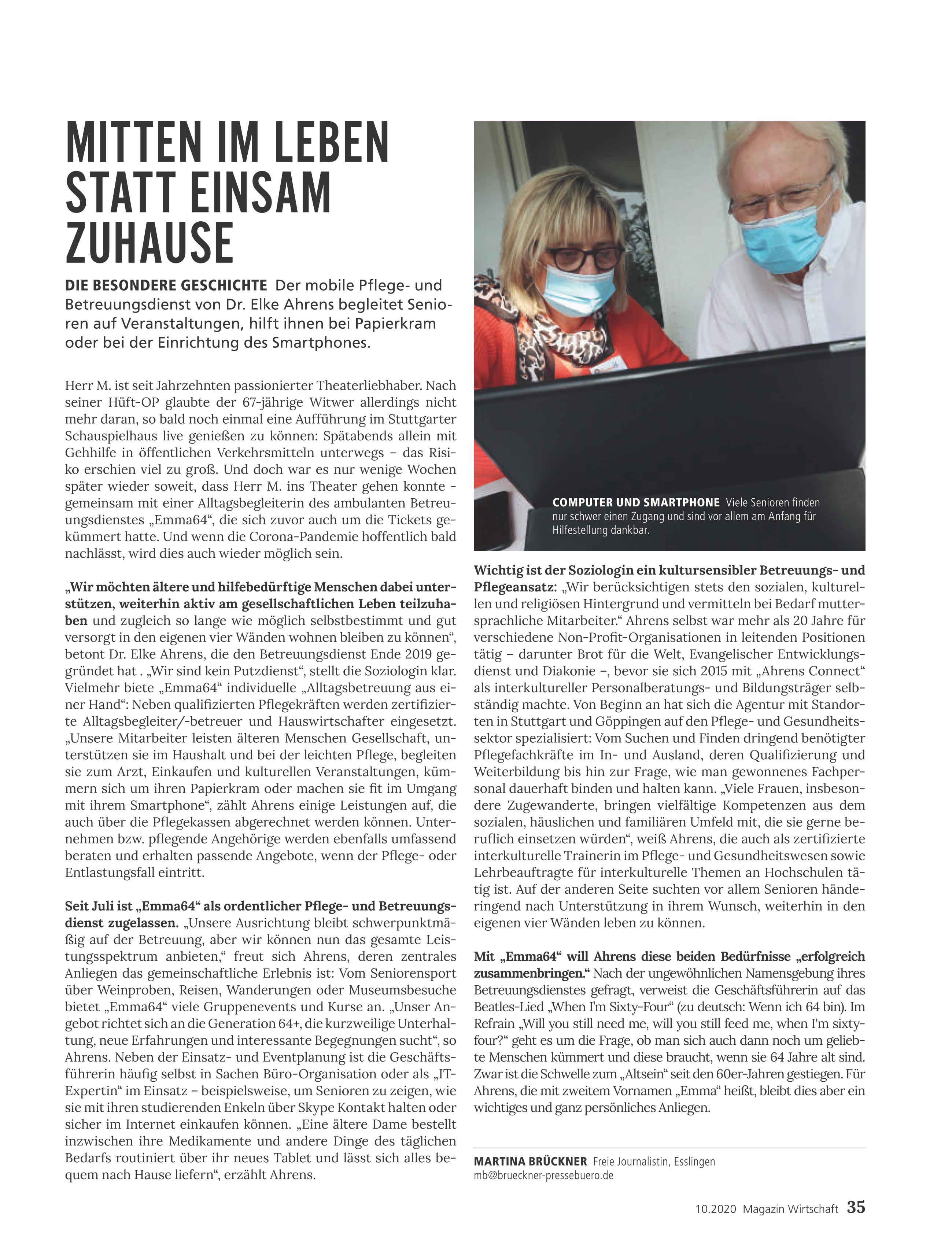 Mitten im Leben – Artikel über Emma64 im IHK Magazin